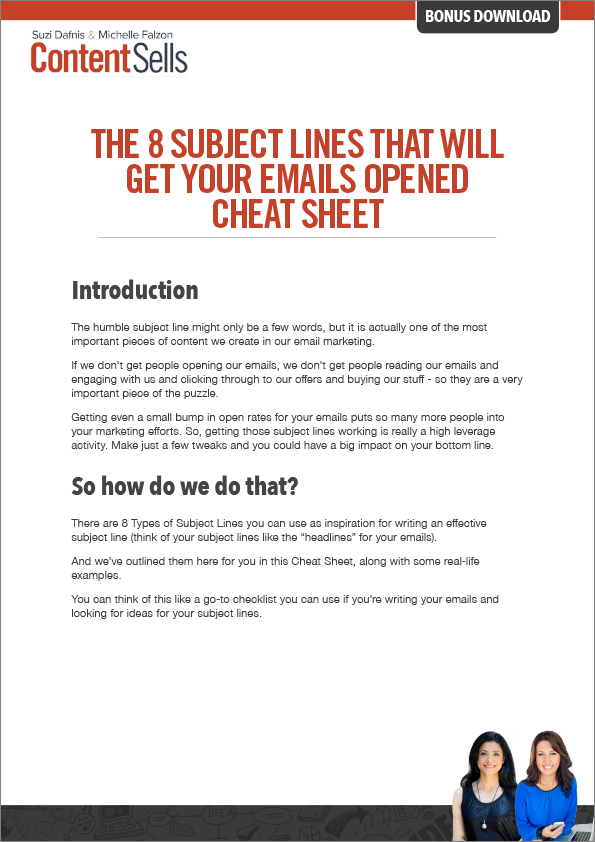 FREE Cheat Sheet - 8 Subject Lines that will Get Your Emails Opened